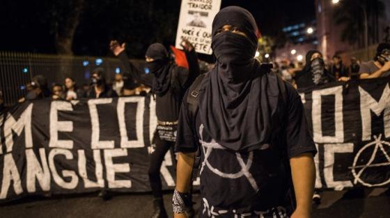 Black Bloc in Rio De Janeiro, Brazil.